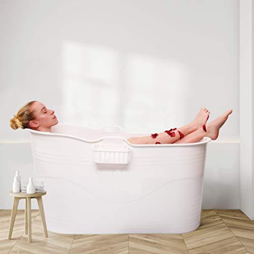 HOMEVICTORY® Mobile Badewanne für Erwachsene XL und Kinder [122 x 53 x 63cm] - [100% DICHT] Badewanne für Dusche - Sitzbadewanne mit hochwertigem Abflussschlauch - Mobile Badewanne Erwachsene