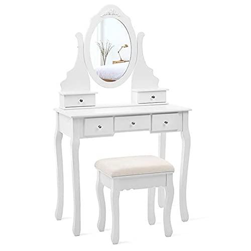 Toeletta con tavolo da toeletta con specchio sgabello retrò per camera da letto con cinque cassetti e tavolo da toeletta in legno per casa, ufficio studio