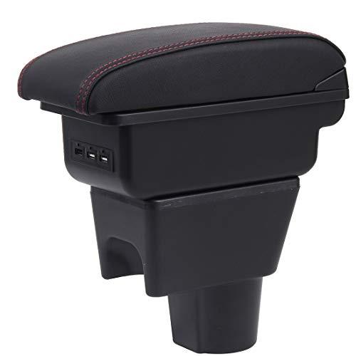 Voiture Accoudoirs Pour Duster I 2010-2015 Boîte de Rangement de La Console Centrale Intérieure Double Couche avec 3 ports de charge USB Noir avec surpiqûres rouges