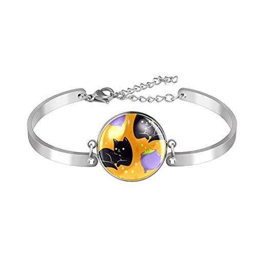 Pulsera, brazalete de acero inoxidable brazalete de regalo de joyería puño pulido estilo de caja de regalo de moda feliz halloween gato hierro olla para hombres mujeres