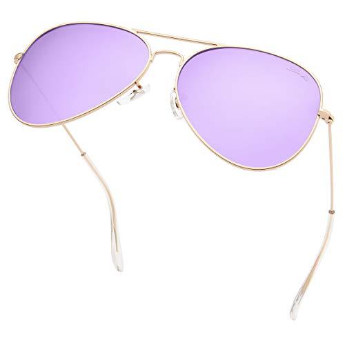 livho Classic Polarized Aviator Sunglasses UV Mirrored Lens Metal Retro Shades (Purple Lens/Gold Frame, 58)