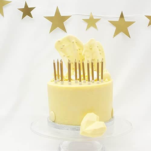 On The Wall Gold Metallic Cake Candles with Holders (24 Pack)