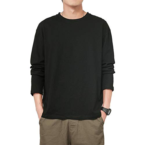 [ブロマーズ] 長袖 カジュアル 韓国ファッション 大きい サイズ オーバーサイズ 薄手 厚手 シンプル ユッタリ ビッグシルエット メンズ チェック tシャツ メンズ yシャツ シャツ ロング アップ チェックアップ アウター インナー ブラック XXXL