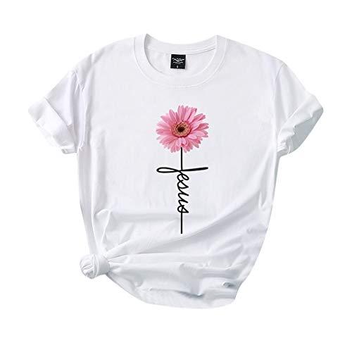 Xniral Damen T-Shirt,100% Baumwolle Kurzarm Bluse Tops Gänseblümchen Drucken Sommer Lose Shirt Wild Atmungsaktiv Sportshirt Sweatshirt(Weiß,L)