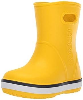 Crocs Kids  Crocband Rain Boots Yellow/Navy 12 Little Kid