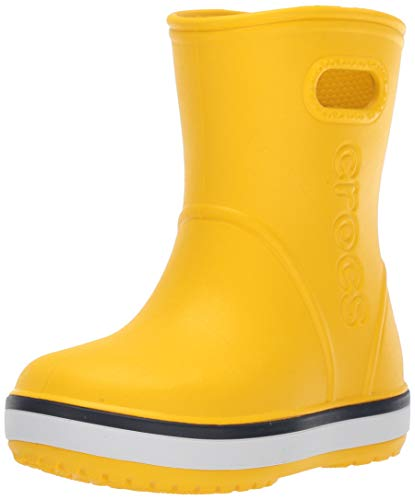Crocs Kids' Crocband Rain Boot | Easy Slip On for Toddlers | Lightweight and Waterproof, Yellow/Navy, 9 M US Toddler