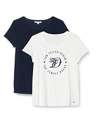 TOM TAILOR Denim Doppelpack Basic Logo Tee T-Shirt Damen, Cremefarben (Cremefarben (10332), XL