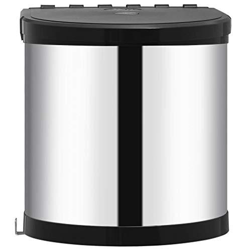 Tidyard Einbau-Mülleimer aus Edelstahl/Kunststoff, 8 Liter, Deckel-Lift-System, einfache Montage, Edelstahl