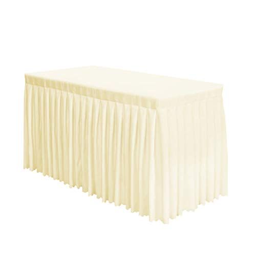 Surmente Tablecloth 14 ft Polyester Table Skirt Weddings, Banquets Restaurants (Ivory) …