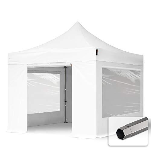 TOOLPORT Faltzelt Faltpavillon Pavillon 3x3m - mit 4 Seitenteilen (Panoramafenster) Premium Dach 100% WASSERDICHT Partyzelt weiß