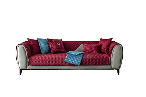 CC.Stars Anti-Slip Couch Cover, Quilted Sectional Sofa Covers Jacquard Chaise Lounge Set for Suitable for Living Room, Bedroom, Study Room, Outdoor-red_35 * 47in