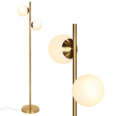 Brightech Sphere LED Floor Lamp- Contemporary Modern Frosted Glass Globe Lamp with Two Lights- Tall Pole Standing Uplight Lamp for Living Room, Den, Office, Bedroom- Bulbs Included