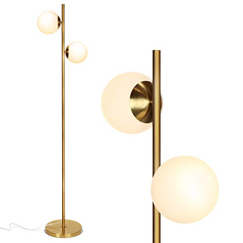 Brightech Sphere - Mid Century Modern 2 Globe Floor Lamp for Living Room Bright Lighting - Contemporary LED Standing Light for Bedrooms & Offices - Gold / Antique Brass Indoor Pole Light