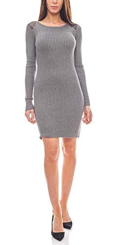 Melrose Kleid elastisches Rippstrick-Kleid mit transparenten Schulter-Einsätzen Freizeit-Kleid Strickkleid Grau, Größenauswahl:42