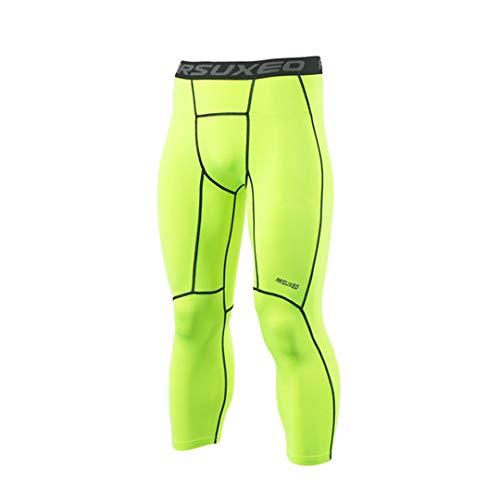 TN-KENSLY Capa compresión Medias Deportes Base Masculino Mallas para Correr los Pantalones 3/4 Ejecutar la Aptitud Activos Pantalones Entrenamiento Ejercicio K75 Green L