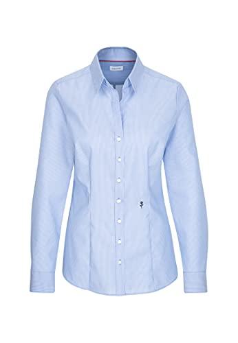 Seidensticker Damska bluzka – bez konieczności prasowania, wąska taliowana bluzka z kołnierzem bluzkowym i dekoltem – długi rękaw – 100% bawełna, niebieska (11), 38