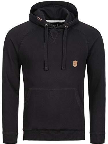 Indicode Herren Litcham Sweatshirt mit Kapuze | Warmer Hoodie sportlicher Kapuzenpullover modernes Kapuzensweatshirt Herrenpullover Hooded Sweater Pullover für Männer Black L