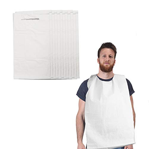 """Disposable Adult Bibs for Eating, Giant Bib 16""""x30"""" Covers Lap Paper Poly Tie Back- 100 Pack Great for Seniors, Elderly, Commuting, Travel Keeps Clothes Clean"""