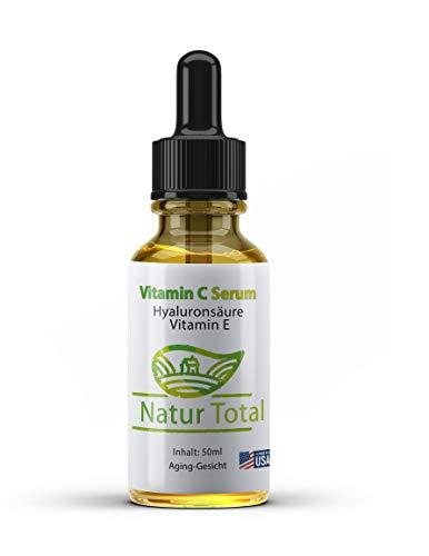 Vitamin C Serum Anti Aging Naturkosmetik - Made in USA - 50ml - Kollagen Booster mit 10% Vitamin C + Hyaluronsäure + Vitamin E Tierversuchs-frei