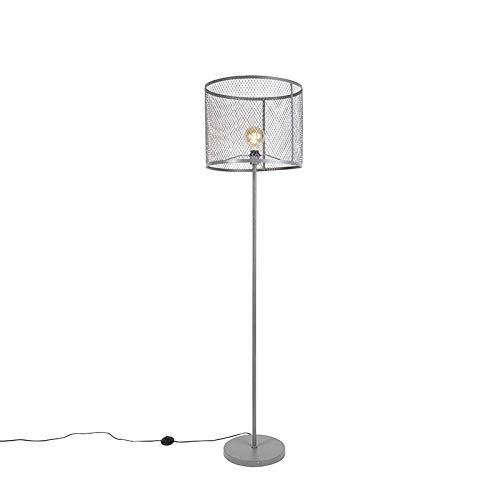 QAZQA Industriële ronde vloerlamp antiek zilver - Cage Robusto Staal Cilinder/Langwerpig Geschikt voor LED Max. 1 x 40 Watt