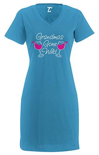 Tcombo Grandma's Gone Wild - Wine Women's Nightshirt (Light Blue, Large/X-Large)