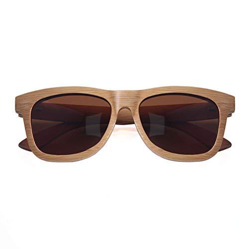 LUI SUI Gafas de sol de madera de bambú polarizadas Retro Vintage Style Unisex Gentleman Lady Man Woman con estuche Caja de regalo