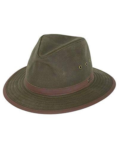Outback Trading Company Standard 1462 Madison River Sun-Protective Waterproof Crushable Cotton Oilskin Hat, Sage, Medium