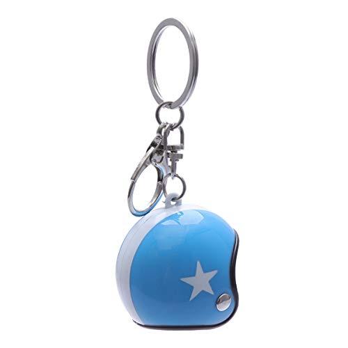 LIOOBO Kreative Schlüsselanhänger Motorradhelm Mode Auto Anhänger Schlüsselanhänger Ornament - Blauer Helm Weißer Stern