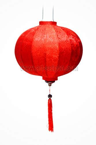 Farol asiático de seda roja R – Diámetro 33 cm – Artesanía de Vietnam (RÉF. R20-R)