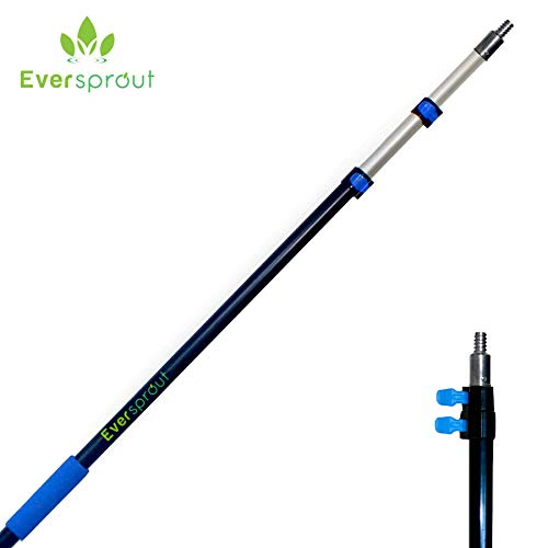 EVERSPROUT 6.5-to-18 Foot Telescopic Extension Pole (25 Ft Reach) | Lightweight Sturdy Aluminum | Easy Flip-Tab Lock Mechanism | Twist-On Metal Tip works for Squeegee, Duster, Paint Roller (pole only)