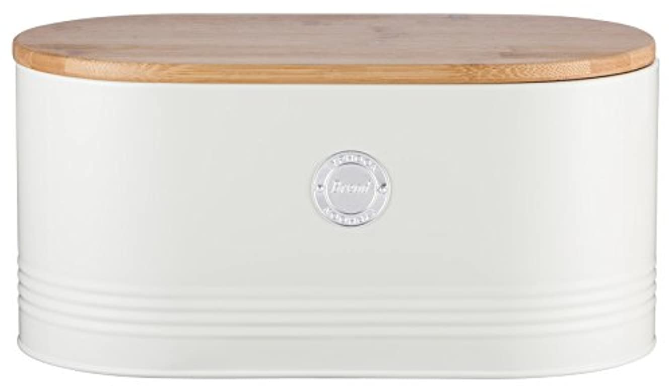 Typhoon Living Carbon Steel Bread Bin with Bamboo Lid, 13-Inches by 7-Inches by 6-1/4-Inches, Cream