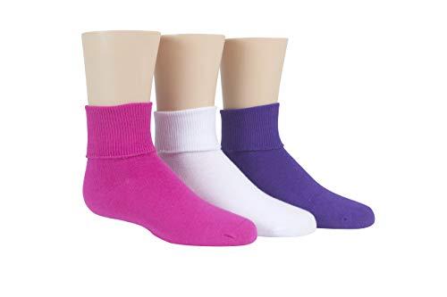 Stride Rite Little Girls' 3 Pack Girls Comfort Seam Turn Cuff, Fuchsia/White/Purple,6-7.5 Sock size/7-10 Shoe size (Toddler)