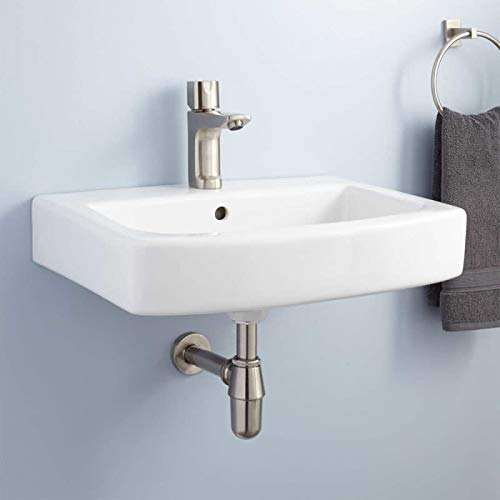 Signature Hardware 930273 Medeski 22' Vitreous China Wall Mounted Bathroom Sink with 1 Faucet Hole