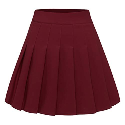Timormode - Falda plisada para mujer, talla pequeña, para escuela de tenis granate M