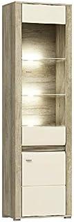 MHF Campari 7 Vitrine moderne de 60 cm de large avec porte en verre et lumières LED brillantes pour salon