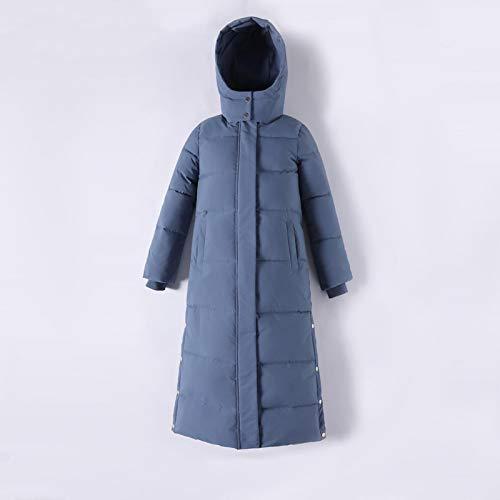Chaqueta de Plumas Nueva Elegante Parka con Capucha X-Long Chaqueta De Invierno para Mujer Abrigo Parka Suelto De Moda Cálida para Mujer Oficina Señora XL Azul