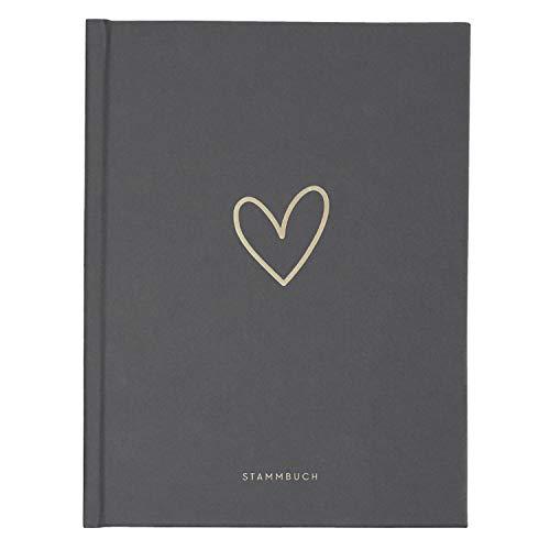 JO & JUDY Familienstammbuch 'Hochzeit' - Stammbuch der Familie in Dunkelgrau mit Goldfolienprägung - 16,6 x 22 cm