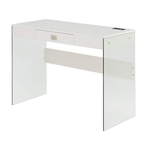 Convenience Concepts SoHo - Escritorio de cristal con estación de carga, 42 pulgadas, color blanco