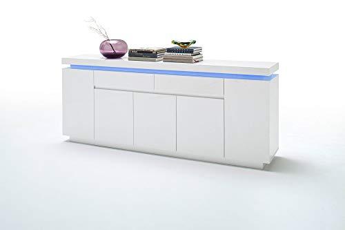 Newfurn Sideboard Kommode Modern Anrichte Highboard Mehrzweckschrank II 200x81x 40 cm (BxHxT) II [Liv.Five] in Weiß/Weiß Wohnzimmer Schlafzimmer Esszimmer