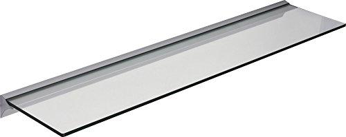 IB-Style - Glasregal KLAR + Klemmleiste für 6 und 8 mm Böden mm SILBERMATT | Stärke 8 mm | 6 Abmessungen | Klarglas oder Satiniert | 600x150x8 mm KLARGLAS - Regalsystem Wandregal Glasablage Glasboden Glasplatte Glas regal Badablage Wandablage
