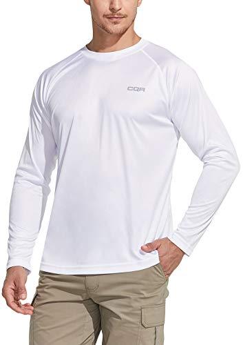 CQR Tol003 - Camisetas para hombre con protección solar UV y camiseta de deporte con protección solar para hombre, 1 unidad, color blanco, talla M