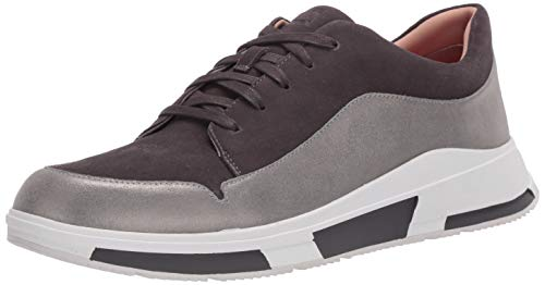 FitFlop Freya Lace Up Low Top Sneaker, Zapatillas Mujer, Gris Aw19 Elephant Grey 049, 37 EU