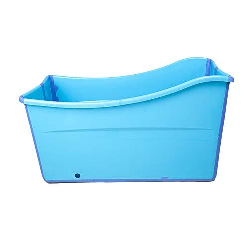 W WEYLAN TEC Large Foldable Bath Tub Bathtub for Baby Toddler Children Twins Petite Adult Blue