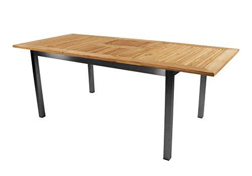 lifestyle4living Gartentisch ausziehbar mit Edelstahlgestell und Tischplatte Teakholz, wetterfest, 152x90 cm | Hochwertiger moderner rechteckiger Tisch für 6 Personen