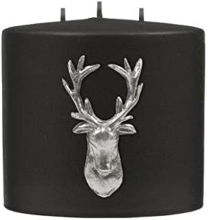 Kenneth Turner Stag Collection Double Headed Candle - Black/Silver