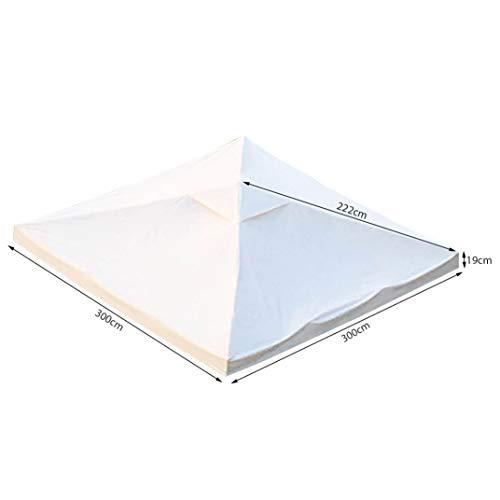 TOAKS Tetto di ricambio per gazebo da giardino, impermeabile, resistente, in poliestere con rivestimento in PVC, 270 g/m² (3 x 3 beige)