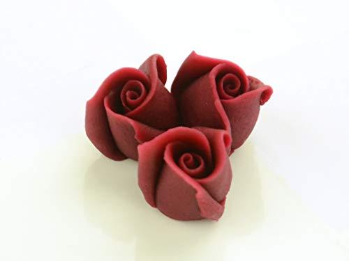 Marzipan-Rosen klein bordeaux 4 Stück