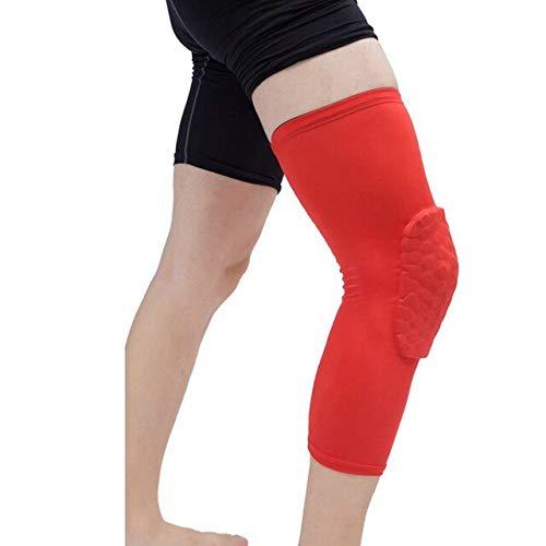 Erwachsene 1PC Basketball Knie Stulpen Waben Unterstützung elastische Knieschoner Schaum Unterstützung Volleyball neu - Rot, XL