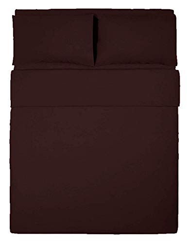 Dulce Lino New Plain Pollycotton Dyed Duvet Cover & 2 Pillow Cases Bed Set. (Brown, Single)