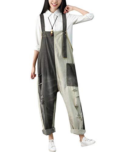 Youlee Donna Estate Primavera Vintage Jumpsuits Big Crotch Tuta da Lavoro Style 1 Grey